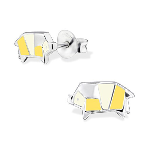(925 Sterling Silver Hypoallergenic Yellow Origami Pig Stud Earrings 30684)