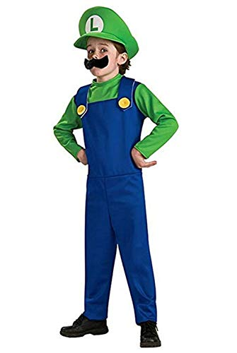 Super Mario Costume Luigi Brothers Deluxe Kids Cosplay Mens Adult Dress Up Party Costume Child Green X-Small -