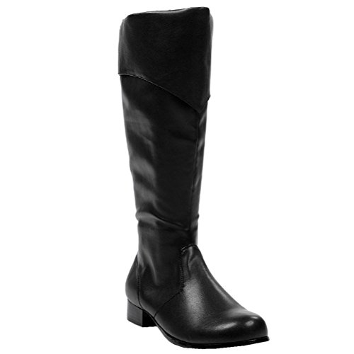 MENS SIZING 1 Inch Heel Black Pirate Boots Renaissance Knee Boots Size: Large (Mens Renaissance Boots)
