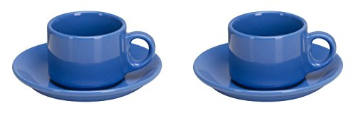 Omniware 1013035 4 Piece Coffee Delight Espresso Mugs & Saucers Set, Simply Blue
