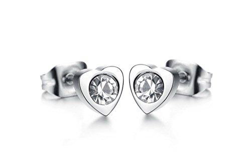 Heart Shape Cubic Zirconia Titanium Steel Width 55mm White Women Earrings By AnaZoz Jewelry (Type Flush 55)