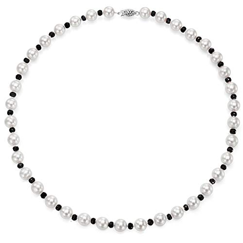 (14k White Gold 8-8.5mm White Freshwater Cultured Pearl and 4-4.5mm Simulated Onyx Necklace,)