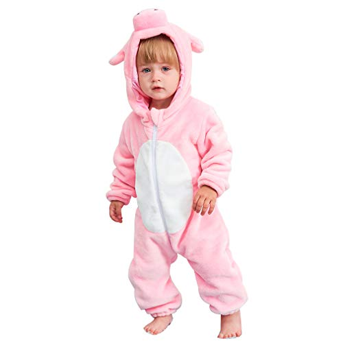 IDGIRL Baby Pig Costume, Animal Newborn Cosplay Pajamas for Girl Winter Flannel Romper Outfit 12-18 Months, Pink One