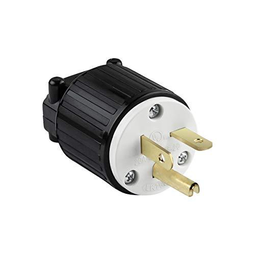 ENERLITES Industrial Grade 20A 125V Straight Blade Plug, NEMA 5-20P, 2P, 3W, 66210-BK, Black