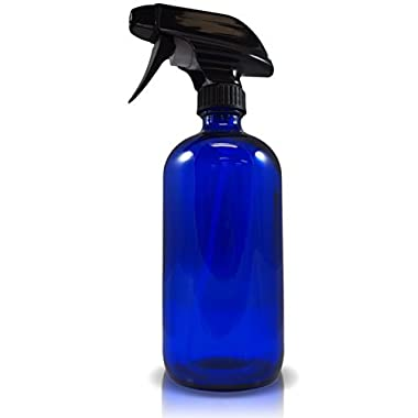 Refillable Cobalt Glass 16oz Spray Bottle with Heavy Duty Mist and Stream Sprayer