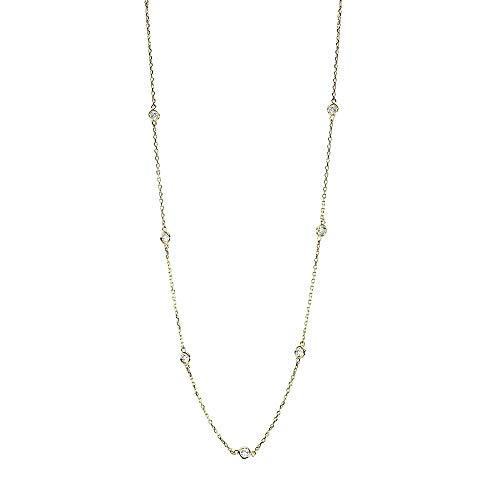 Handmade 18K Yellow Gold Station Necklace with 0.70 Carats of Diamonds 16-18 Inches ()