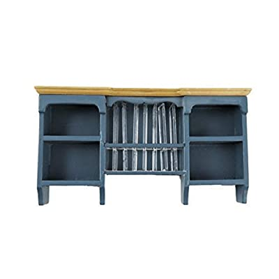 Melody Jane Dollhouse Blue & Pine Wall Cupboard with Plate Rack Kitchen Furniture 1:12: Toys & Games
