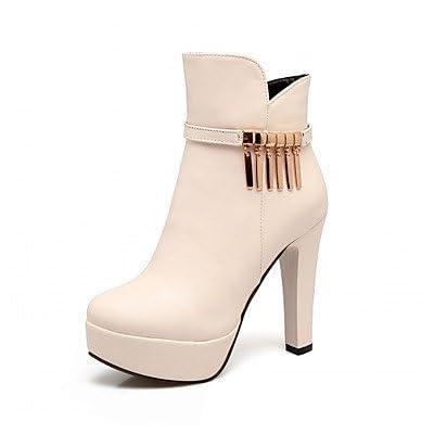 RTRY Chaussures pour femmes Bottes Mode Hiver Printemps similicuir Talon Chaussures bout rond chaussures / Boots Fermeture éclair pour Casual Office &AMP; Carrière