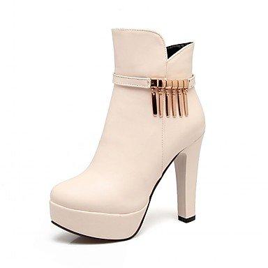 RTRY Zapatos de mujer polipiel Primavera Moda Invierno botas botas Chunky talón puntera redonda botines/botines de cremallera para oficina informal &Amp; Carrera US6.5-7 / EU37 / UK4.5-5 / CN37