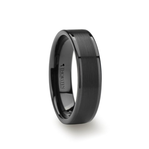 VULCAN Flat Black Tungsten Ring with Brushed Center & Polished Edges - 6mm by Thorsten Rings
