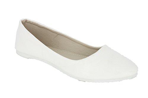 Damen Ballerinas Halbschuhe Slipper Flats Sommer Freizeit Klassische BA520563S1 Weiß