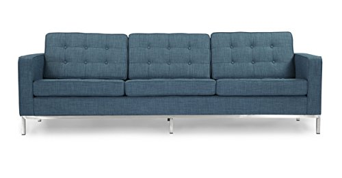 Kardiel Florence Knoll Style Sofa 3 Seat, Blue Curacao Vintage Twill