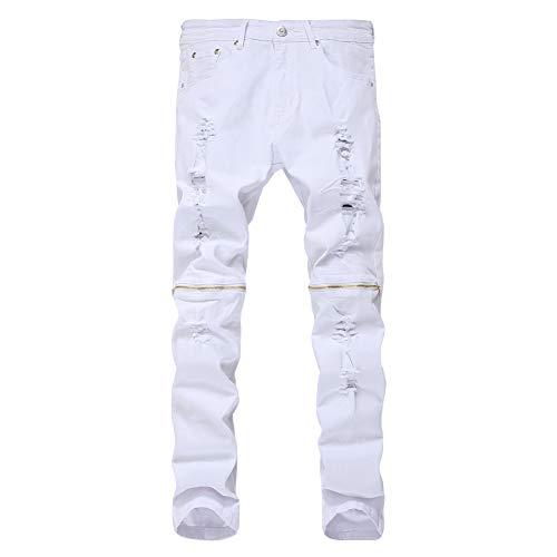 - LONGBIDA Men's Ripped Skinny Distressed Zipper Jeans Straight Slim Fit Destroyed Biker Pants(White,32)