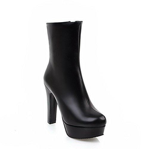 Toe High Solid Black Calf BalaMasa Heels Boots Mid Womens Platform Round ABL09735 Urethane xqAWRwOI