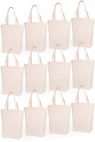 Natural Flat Construction Canvas - Lily Queen Natural Canvas Tote Bags DIY Reusable Shopping Grocery Bag (Natural - 12 Pack)