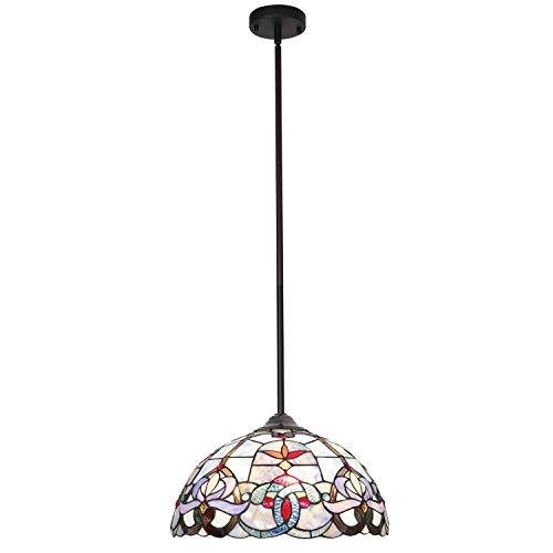 (BONLICHT Traditional Multi-Colored Glass Chandelier Antique Tiffany Style Victorian 3-Light Ceiling Pendant Fixtures Hanging 16-Inch Shade,Vintage Romantic Stained Glass Pendant Lighting UL)