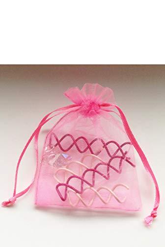 Set of Twistie Twist Spin Pins Spiral Hair Pin Bun Ballet | Brunette + Blonde Bobby Pins Pink (2 Long, 2 Short + Heart Gem) (Best Pink Lipstick For Brunettes)