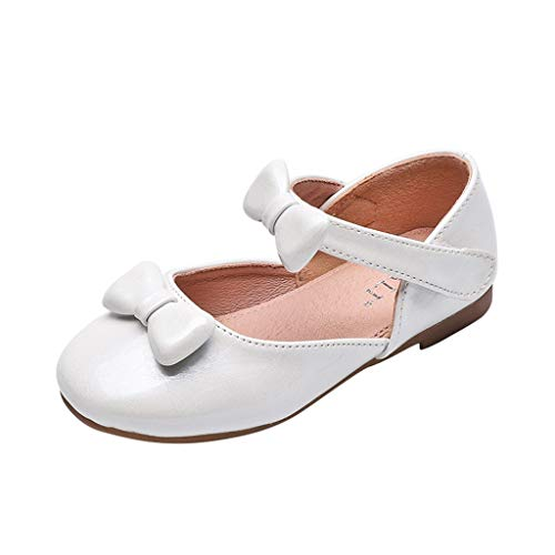 Beppter Mary Jane Front Bow Rhinestone Buckle Ballerina Flat Girls Princess Soft Comfortable Round Head Princess Shoes(White, 10-10.5years) -