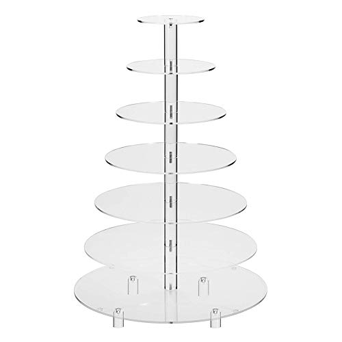Brownie Tower - 7 Tier Cupcake Tower Stand Clear Acrylic Macaron Cookie Cake Dessert Display Tree Rack for Wedding Birthday Party Baby Shower (Round)