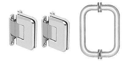 CRL P1NS3CH Pinnacle Shower Pull and Hinge Set, Chrome