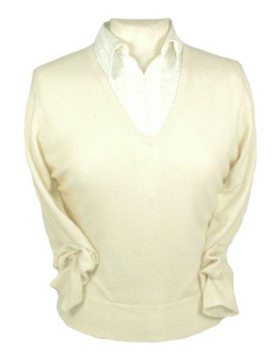 Femme Pull En Col V Cashmere Cachemire Blanc Oxfords Pur SqE51B