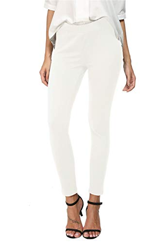 (Bamans Womens Slim Comfort Fit Skinny Leg Stretch Pull-On Work Pants, Snowy White XX-Large)
