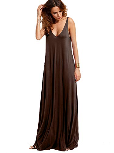 Verdusa Women's Casual Sleeveless Deep V Neck Knitted Shift Sexy Maxi Long Dress Brown M