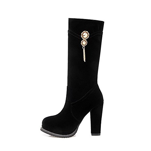 Round Boots Solid Polish AgooLar High Closed Dull top Black Heels Women's Toe High pBBU5xP