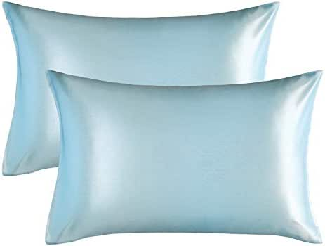 Bedsure Satin King Size Pillow Cases Set of 2, Light Blue, 20x40 inches - Pillowcase for Hair and Skin - Satin Pillow Covers with Envelope Closure