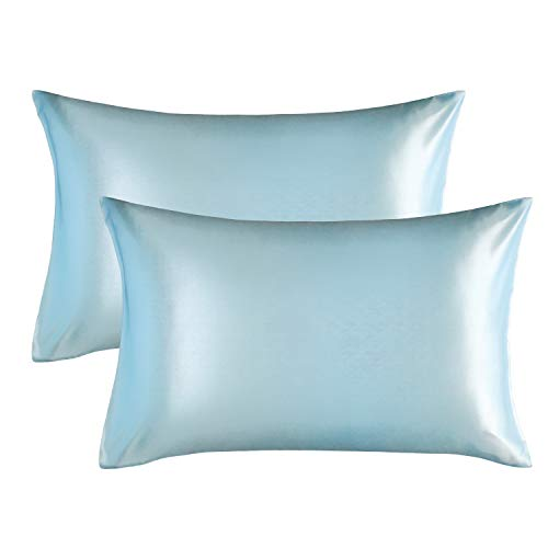 Bedsure Satin Pillowcase for Hair and Skin, 2-Pack - Queen Size (20x30 inches) Pillow Cases - Satin Pillow Covers with Envelope Closure, Light Blue