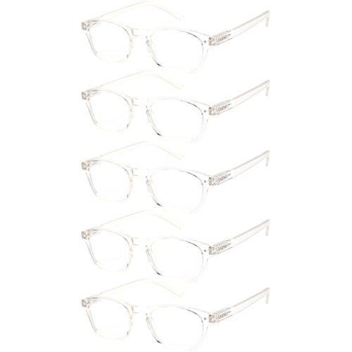 Clear Reading Glasses - Reading Glasses Women 5 Pack Design Stylish Readers Great Value Quality Glasses for Reading (5 Pack Clear, 1.50)