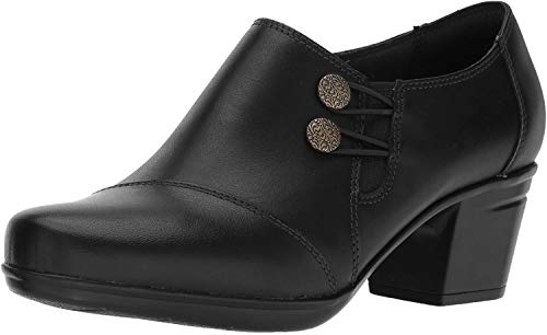 Clarks Women's Emslie Warren Slip-on Loafer,Black Leather,8 M US (Womens Size 12 Clarks Shoes)