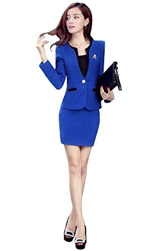 Kangqifen Women's Long Sleeve Business Offcie Suit Skirt Set (Small, Royal Blue) by Kangqifen (Image #2)