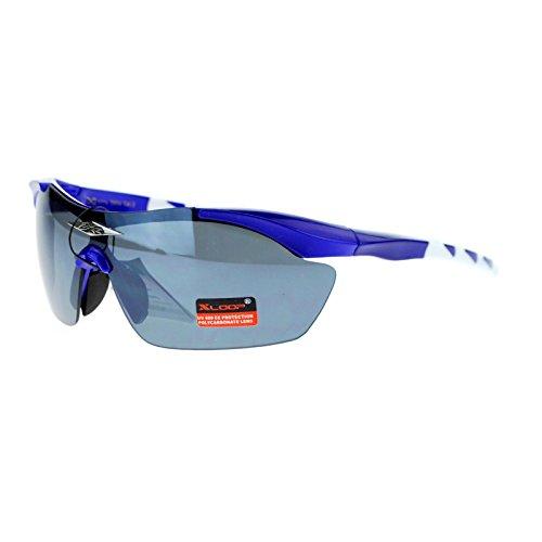 X Loop Shield Baseball Rimless Half Rim Sport Sunglasses Blue - Guys White In Sunglasses