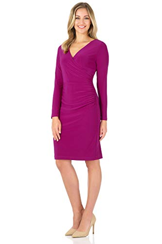 Rekucci Women's Illusion Wrap Dress with Long Sleeves (10,Magenta)