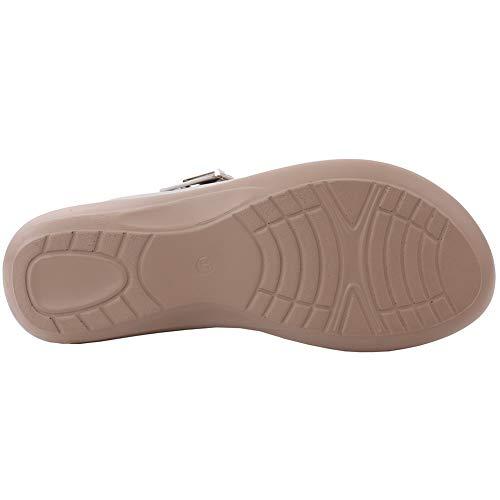 Fibbia 8 Lucido Tri Da Argento Con 3 Pantofole Outdoor Unze Strap Uk Comfort Metallico Donna Open Taglia Casual Slipper Brianna xwORzq