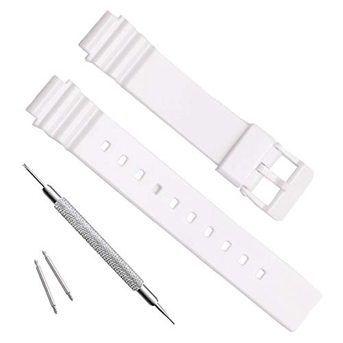 Waterproof Natural Resin Replacement Watch Band for Casio Women's LRW200H (White) (Resin Strap White)