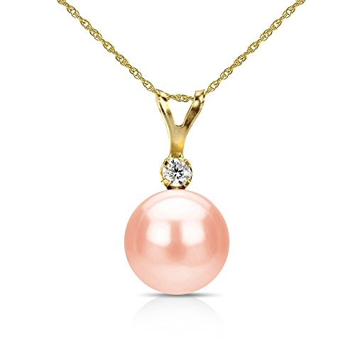 Gold Diamond Pink Pearl Pendant (14k Yellow Gold 1/20cttw Diamond 8-8.5mm Pink Freshwater Cultured Pearl Pendant 18