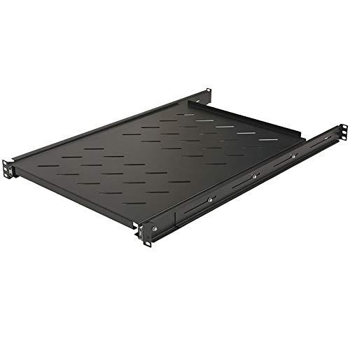 "Price comparison product image NavePoint Sliding Rack Vented Server Shelf 1U 19"" 4 Post Rack Mount 29.50"" (750mm) Deep Set of 3 Black"