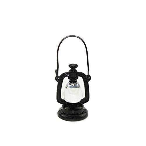 NszzJixo9 8Pcs 1/12 Miniature Scene Model, Dollhouse Accessories-Mini Oil Lamp Fake Exquisite Living Room Kids Pretend Play Toy (Black) ()