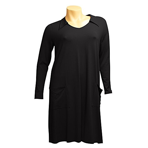 Kragen A Hüfttaschen Kleid Knielang Linie Damen Schwarz RICK CAROLIN q6YwIEXnZx