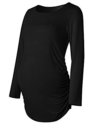 Bhome Maternity Top Long Sleeve T Shirt Flattering Sides Bodycon Fall Tshirt Pregnancy Tee