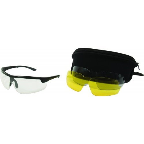 Allen Ion Ballistic Shooting Glasses With 3 Lenses  Clear Yellow Smoke