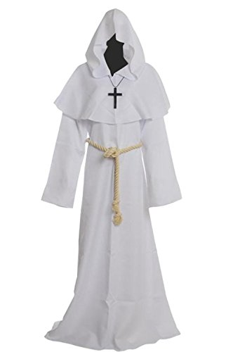 Priest Costume White (Friar Medieval Hooded Monk Renaissance Priest Robe Costume Cosplay white M)