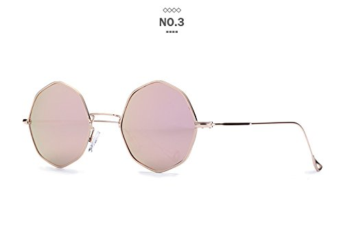 Blacked Out Contact Lenses (Gydoxy(TM) Hexagon Round Clear Sunglasses Women Men Vintage Italy Brand Designer Mirror Octagonal lens Female Sun Glasses Ladies [Gold)