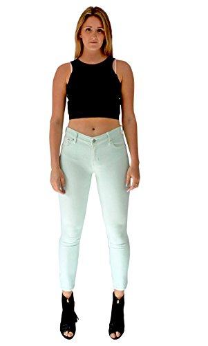 Verde Pastello Alta Gamba Aderenti Corta Color Stretta Con Jeans Vita Da A Donna Lunghezza Pallido Ritagliata CwS0XXqx6T