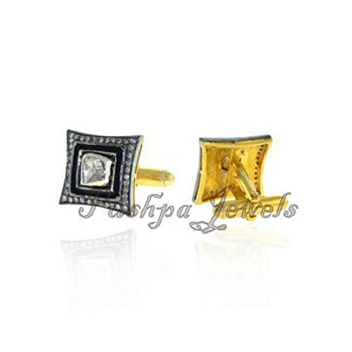 Victorian Style Antique Finish 1. 90cts Rose Cut Uncut Diamond Sterling Silver Square Shaped Cufflinks For Wedding Engagement Party wear Brilliant Cut Gold Cufflinks