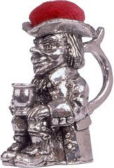 (Wentworth Pewter - Toby Jug Pewter Pin Cushion - H:45mm / Dia:25mm)