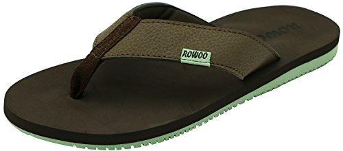 Rowoo Heren Casual Sandalen Comfortabele Strandschoen Slip Op Rubberen Slippers Bruin