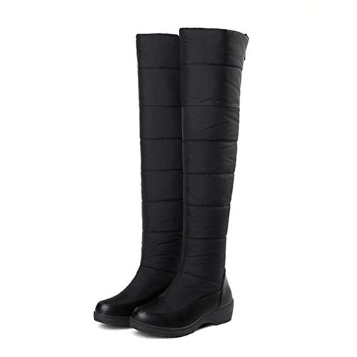 (T-JULY Snow Boots for Women Fur Platform Zip Thigh High Thick Keep Warm Over The Knee Shoes Black)